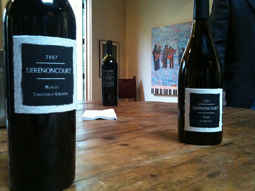 Derenoncourt wines at the table
