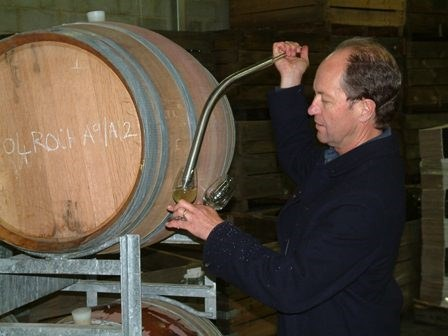 Andrew Pirie taking barrel sample