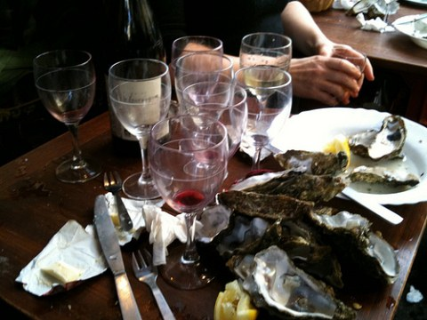 Empty glasses and plates at Le Baron Rouge