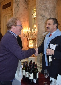 Saying hello to Count Stephan von Neipperg (right), owner of Canon La Gaffelière