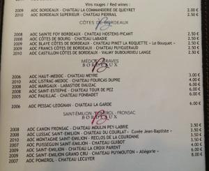 The (incredibly fairly-priced) menu at Bar a Vin