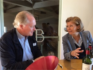 Jeffrey Davies (l)chatting with Veronique Sanders, general manager at Chateau Haut-Bailly